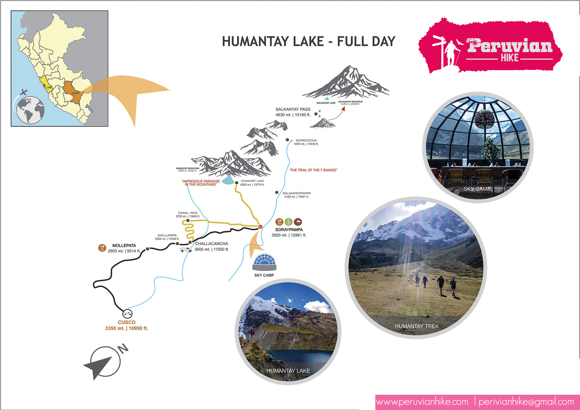 Humantay lake  map and itinerary